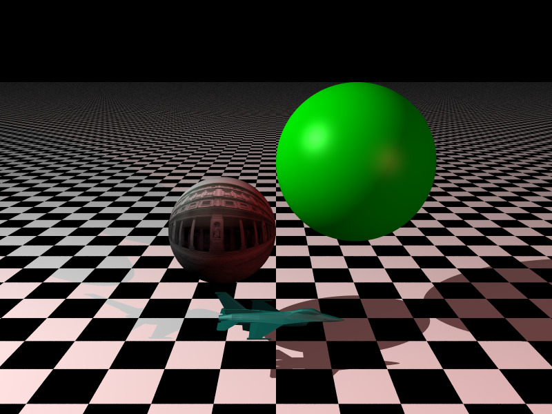 Two light sources, a mesh object, a UV mapped sphere, a Blinn-Phong shaded sphere with anti-aliasing.