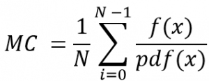 Figure-2: Monte Carlo Estimator. N is the sample size. f(x) is function of the integral that will be estimated. pdf(x) is used for distributing the points (Sampling).