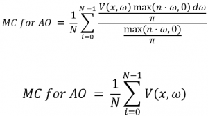 Figure-5: Final MC for AO. After simplifying the f(x) with pdf(x), the estimator turns into picking directions, and tracing them for visibility.